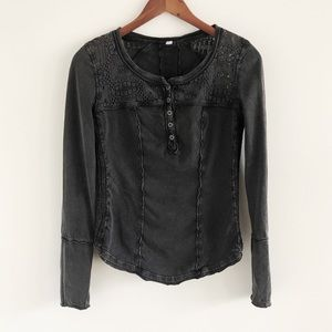 Free People Gold Coast Henley Black Gray Small
